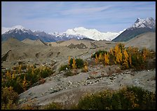 Mt Wrangell and Root Glacier moraines seen from Kenicott. Wrangell-St Elias National Park, Alaska, USA. (color)
