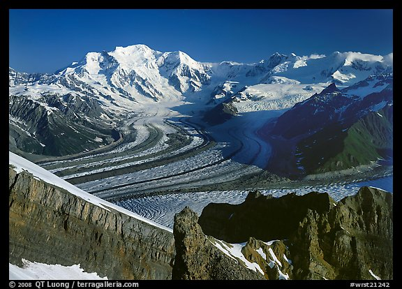 Mt Blackburn and Kennicott glacier seen from Mt Donoho, morning. Wrangell-St Elias National Park (color)