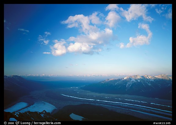 Kennicott Glacier, Chugach mountains, and clouds from Mt Donoho, sunrise. Wrangell-St Elias National Park (color)