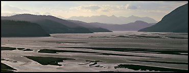 Riverbed of huge size with sand bars. Wrangell-St Elias National Park (Panoramic color)