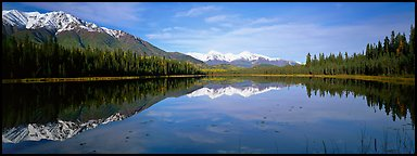 Lake and snowy peaks. Wrangell-St Elias National Park (Panoramic color)