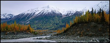 Autumn mountain landscape with snowy peaks above river and trees. Wrangell-St Elias National Park (Panoramic color)