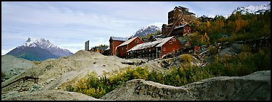 Abandonned mill buildings and moraine, Kennicott. Wrangell-St Elias National Park (Panoramic color)