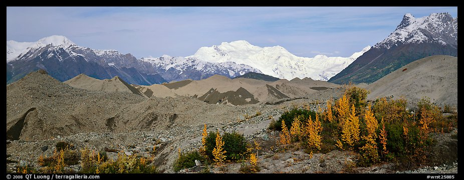 Moraines and snowy mountains. Wrangell-St Elias National Park (color)