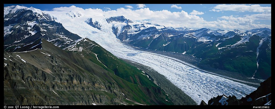 Elevated view of glacier descending from mountain. Wrangell-St Elias National Park (color)