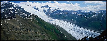 Elevated view of glacier descending from mountain. Wrangell-St Elias National Park (Panoramic color)