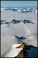Aerial view of ridges and summits emerging from sea of clouds, St Elias range. Wrangell-St Elias National Park, Alaska, USA. (color)