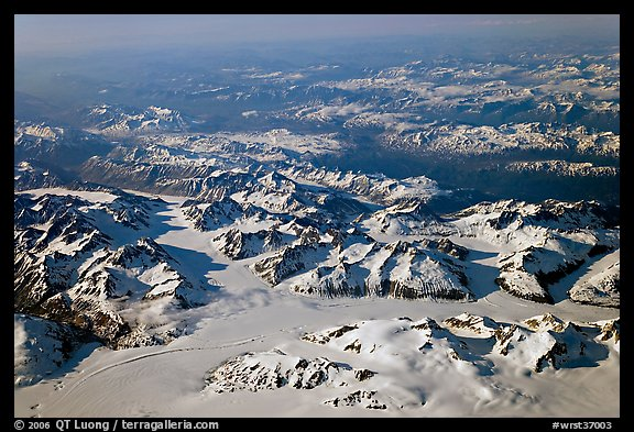 Aerial view of icefields and mountains, St Elias range. Wrangell-St Elias National Park (color)