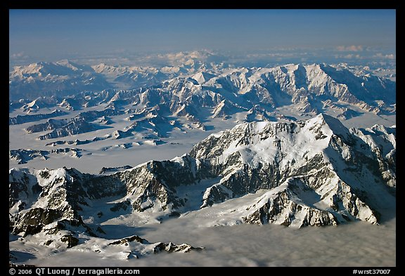 Aerial view of Mount St Elias with Mount Logan in background. Wrangell-St Elias National Park, Alaska, USA.