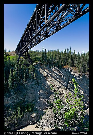 Bridge over Kuskulana canyon and river. Wrangell-St Elias National Park (color)