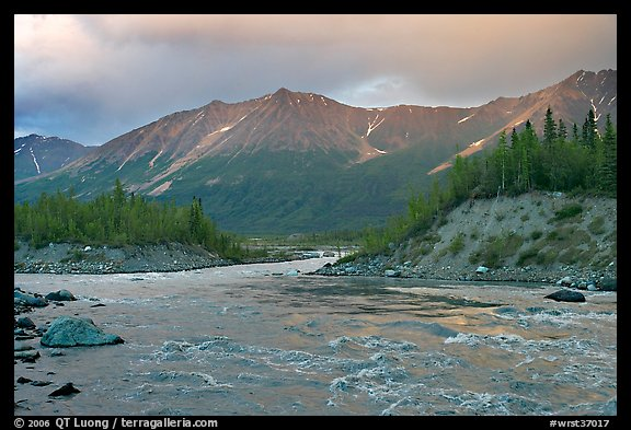 Kennicott River and Bonanza ridge at sunset. Wrangell-St Elias National Park (color)