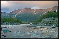 Kennicott River and Bonanza ridge at sunset. Wrangell-St Elias National Park, Alaska, USA.