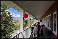 Porch of Kennicott Lodge. Wrangell-St Elias National Park, Alaska, USA. (color)