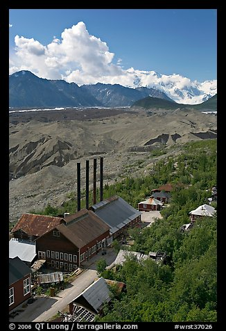 Kennecott power plant, Root Glacier moraines, and Mt Blackburn. Wrangell-St Elias National Park, Alaska, USA.