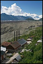 Kennecott power plant, Root Glacier moraines, and Mt Blackburn. Wrangell-St Elias National Park, Alaska, USA. (color)