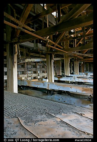 Shaking tables in the Kennecott concentration plant. Wrangell-St Elias National Park (color)
