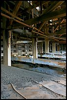 Shaking tables in the Kennecott concentration plant. Wrangell-St Elias National Park, Alaska, USA. (color)
