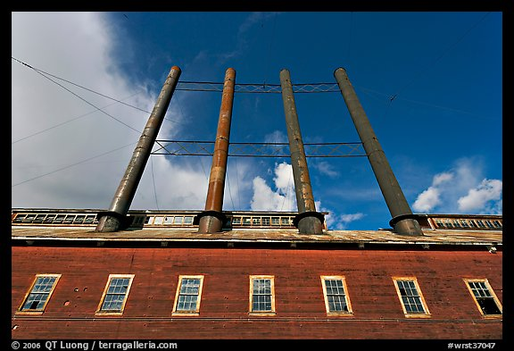 Historic Kennecott power plant and smokestacks. Wrangell-St Elias National Park (color)