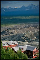 Kennecott mill town buildings and moraines of Root Glacier. Wrangell-St Elias National Park, Alaska, USA. (color)