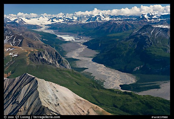 Aerial view of Nizina River. Wrangell-St Elias National Park, Alaska, USA.