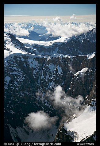 Aerial view of steep rock mountain faces. Wrangell-St Elias National Park (color)