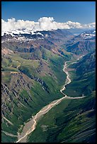 Aerial view of verdant river valley. Wrangell-St Elias National Park, Alaska, USA. (color)