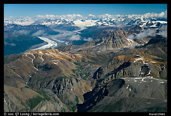 Aerial view of Chitistone Mountains and Nizina Glacier. Wrangell-St Elias National Park (color)