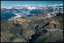 Aerial view of Chitistone Mountains and Nizina Glacier. Wrangell-St Elias National Park, Alaska, USA. (color)