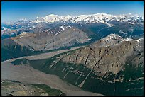 Aerial view of Mile High Cliffs and Chizina River. Wrangell-St Elias National Park, Alaska, USA. (color)