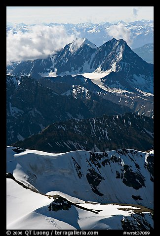 Aerial view of rugged peaks, Saint Elias Mountains. Wrangell-St Elias National Park, Alaska, USA.