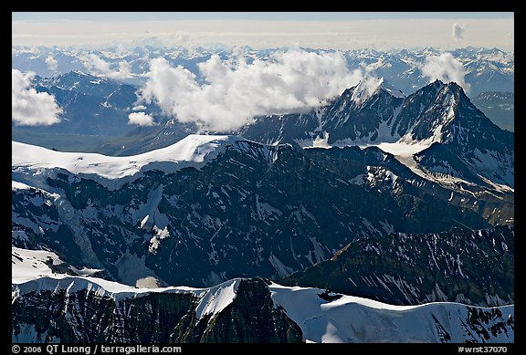 Aerial view of rugged dark peaks, Saint Elias Mountains. Wrangell-St Elias National Park (color)