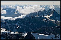 Aerial view of rugged dark peaks, Saint Elias Mountains. Wrangell-St Elias National Park, Alaska, USA. (color)