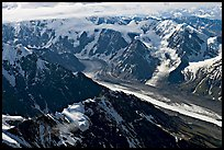 Aerial view of glacier, University Range. Wrangell-St Elias National Park, Alaska, USA.