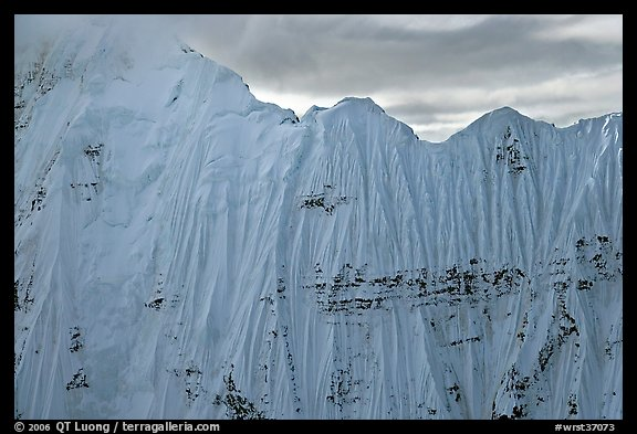 Aerial view of ice wall, University Range. Wrangell-St Elias National Park, Alaska, USA.