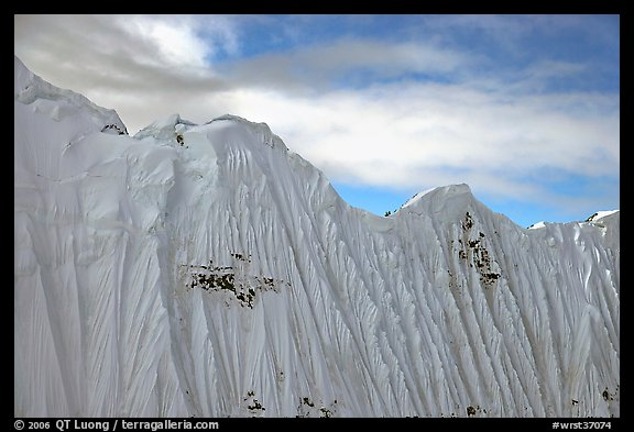 Aerial view of flutted wall, University Range. Wrangell-St Elias National Park (color)