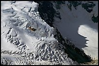 Aerial view of crevasses on steep glacier. Wrangell-St Elias National Park, Alaska, USA. (color)