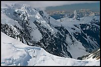 Aerial view of glaciated peak, University Range. Wrangell-St Elias National Park, Alaska, USA. (color)