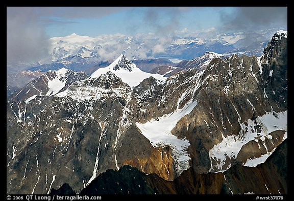 Aerial view of rocky peaks, University Range. Wrangell-St Elias National Park (color)
