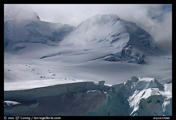 Aerial view of seracs and snowy peak, University Range. Wrangell-St Elias National Park (color)