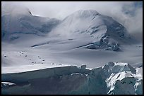 Aerial view of seracs and snowy peak, University Range. Wrangell-St Elias National Park, Alaska, USA.