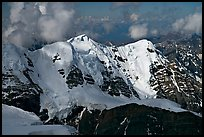 Aerial view of peak with seracs and hanging glaciers, University Range. Wrangell-St Elias National Park ( color)