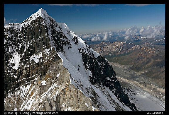 Aerial view of ice-covered peak, University Range. Wrangell-St Elias National Park (color)