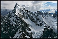Aerial view of pointed icy peak, University Range. Wrangell-St Elias National Park, Alaska, USA.