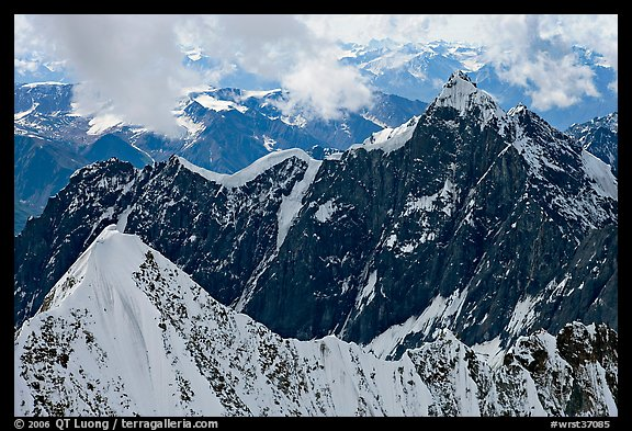 Aerial view of ridges, University Range. Wrangell-St Elias National Park (color)