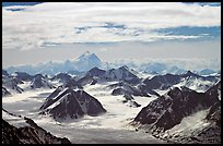 Aerial view of Granite Range with Mt St Elias in background. Wrangell-St Elias National Park, Alaska, USA.