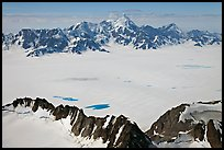 Aerial view of snow-covered Bagley Field. Wrangell-St Elias National Park ( color)