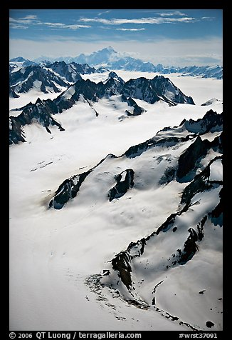 Aerial view of mountains with Mt St Elias in background. Wrangell-St Elias National Park (color)