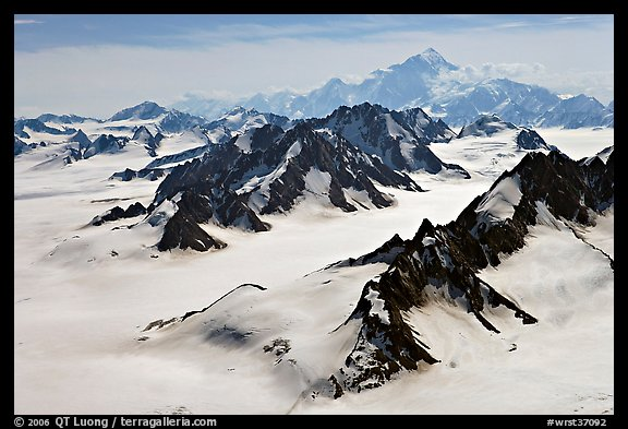 Aerial view of Jefferies Glacier and Mount St Elias. Wrangell-St Elias National Park (color)