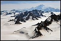 Aerial view of Jefferies Glacier and Mount St Elias. Wrangell-St Elias National Park, Alaska, USA. (color)