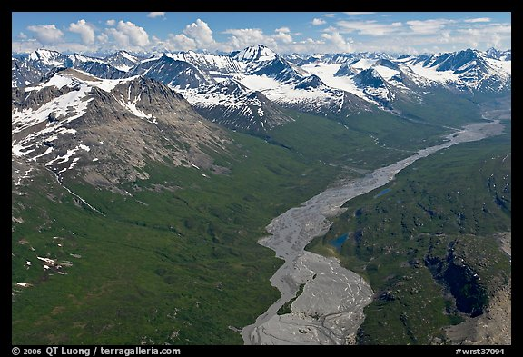Aerial view of Granite Creek. Wrangell-St Elias National Park, Alaska, USA.